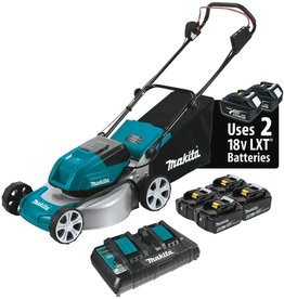 "Makita Makita XML03PT1 18V X2 (36V) LXT Lithium‑Ion Brushless Cordless (5.0Ah) 18"" Lawn Mower Kit with 4 Batteries, Teal"