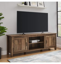 Walker Edison Walker Edison Ashbury Coastal Style Grooved Door TV Stand for TVs up to 80 Inches, 70 Inch, Rustic Oak