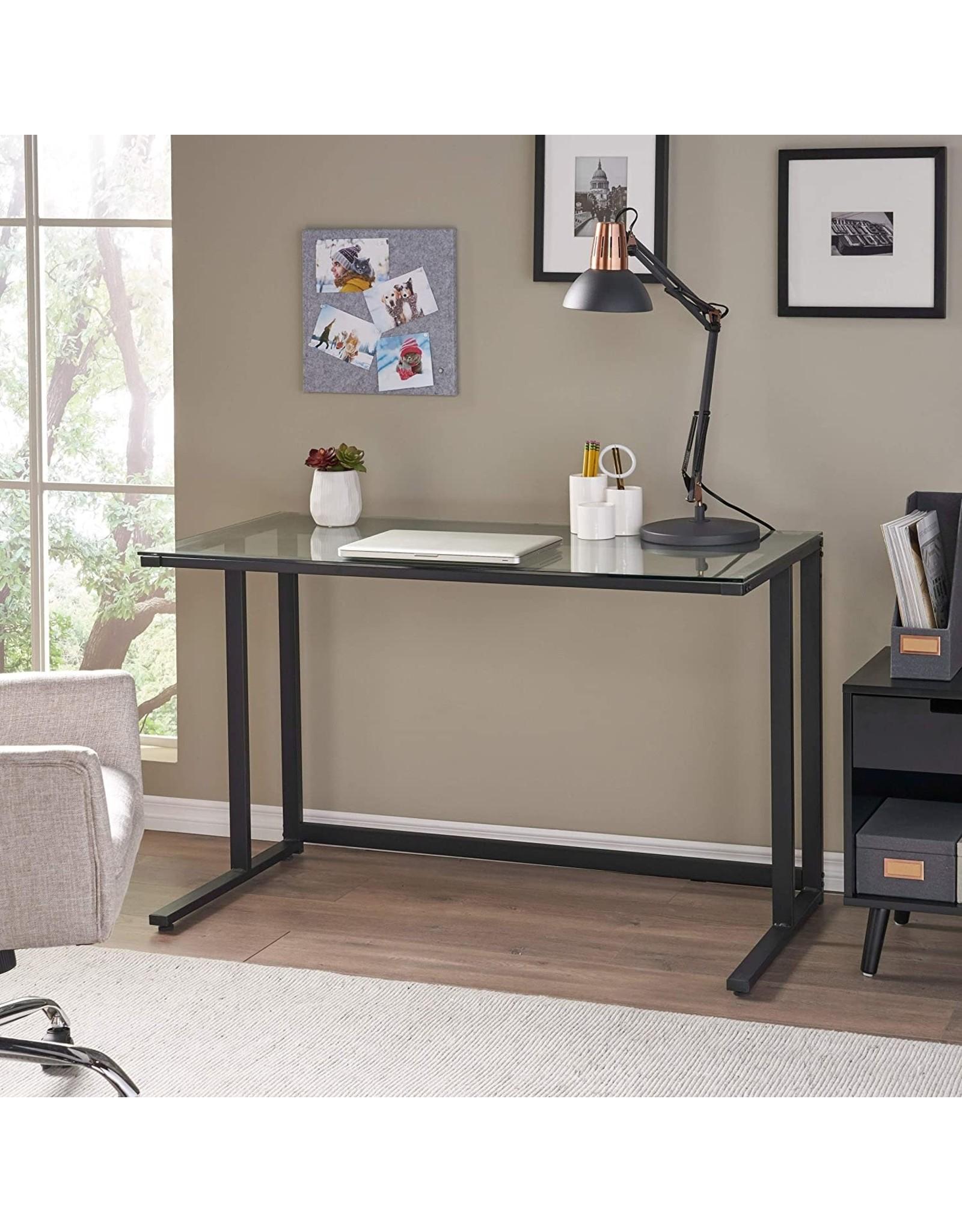 Christopher Knight Home Christopher Knight Home Eghan Tempered Glass Computer Desk, Black