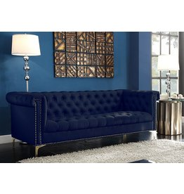 Iconic Home Iconic Home Gold Navy Blue Winston PU Button Tufted with Nail head Trim Tone Metal Sofa,FSA2571-AN