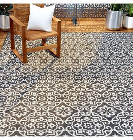 """Home Dynamix Home Dynamix Patio Country Danica Outdoor Rugs, 9'2""""x12'5"""" Rectangle, Black/Gray"""