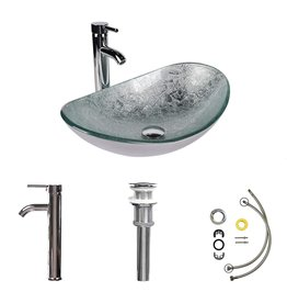 ARTETHYS Bathroom Sink and Faucet Combo - Artistic Tempered Glass Vessel Sink Basin Bowl Set, Cabinet Countertop Sink with Chrome Faucet Pop-up Drain and Water Pipe Lavatory Washroom (Oval Silver Green)