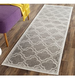 """Safavieh Safavieh Amherst Collection AMT412C Moroccan Geometric Non-Shedding Stain Resistant Living Room Bedroom Runner, 2'3"""" x 7' , Grey / Light Grey"""