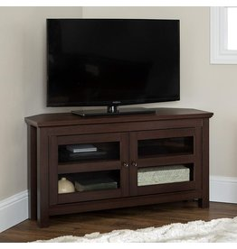 """Walker Edison Walker Edison Furniture AZQ44CCRES Modern Farmhouse Wood Corner Universal Stand for TV's up to 48"""" Flat Screen Living Room Storage Entertainment Center, 44 Inch, Espresso"""