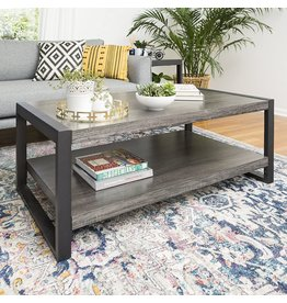 Walker Edison Walker Edison Industrial Modern Rectangle Metal Base and Wood Coffee Table Living Room Accent Ottoman, 48 Inch, Charcoal