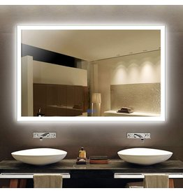 Decoraport Dimmable LED Bathroom Mirror 55 Inx36 in, Anti-Fog Wall Mounted Lighted Vanity Silvered Mirror with Touch Button, Vertical & Horizontal Mount, 6000 LM, CRI>90, IP>44 (NT05-5536)