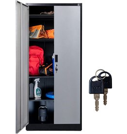 """Fedmax Fedmax Metal Storage Cabinet - 71"""" Tall w/ Locking Doors & Adjustable Shelves - Steel Utility Cabinets For Garage, Office, Classroom, Kitchen Pantry -70.86"""" L x 31.5"""" W x 15.75"""" D  Black/Gray"""