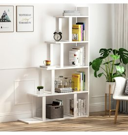 Tribesigns Tribesigns 5-Shelf Ladder Corner Bookshelf, Modern Simplism Style 63 '' H x 12 '' W x 40 ''L, Made of Steel and Wood, for Living Room or Hallway (White.)