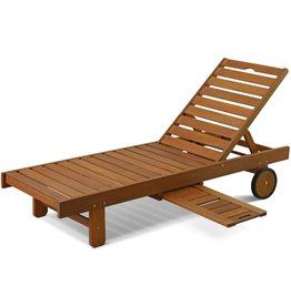 Furinno Furinno FG17744 Tioman Outdoor Hardwood Patio Furniture Sun Lounger with Tray in Teak Oil, Natural