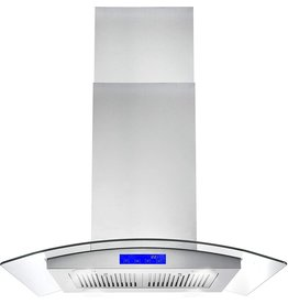Cosmo Cosmo 668ICS750 30 in. Island Mount Range Hood with 380 CFM, Soft Touch Controls, Permanent Filters, LED Lights, Tempered Glass Visor in Stainless Steel