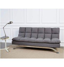Sunrise Coast Sunrise Coast Geneva Fabric-Upholstery Futon Couch with Stainless-Steel Legs, Harbor Gray