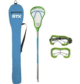 STX STX Lacrosse Exult 200 Youth Pack with Crux Mesh Pocket, Lizard/Electric