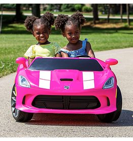 Kid Trax Kid Trax Dodge Viper SRT Convertible Toddler Ride On Toy, Ages 3 - 7 Years Old, 12 Volt Battery, Max Weight of 130 lbs, Two Seater, Working Lights, Pink