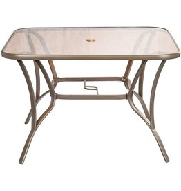 """HQHQHE 40"""" Outdoor Patio Dining Table Metal Square Bistro Coffee Table Furniture, Golden Brown Tempered Glass Top with Umbrella Hole"""