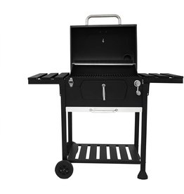 Royal Gourmet Royal Gourmet CD1824EN 24 Charcoal Grill Outdoor Smoker with Side Tables Backyard Griller Party BBQ Picnic Patio Cooking, Black