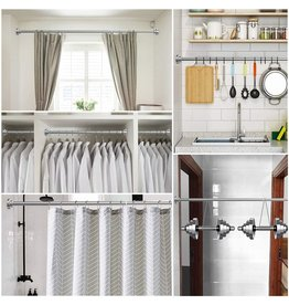 Ausemku Shower Curtain Rod Tension - 40-72 Inch Never Rust Non-Slip Spring Tension Curtain Rod No Drilling Stainless Steel Curtain Rod Use Bathroom Kitchen