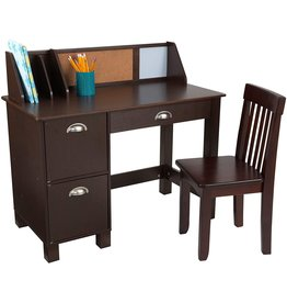 KidKraft KidKraft Wooden Study Desk with Chair - Espresso, Drawers, Extra Storage, Handles, Bulletin Board, Sturdy, Solid, Kid-Sized Study, Gift for Ages 5-10