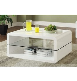 Coaster Home Furnishings Coffee Table with 2-shelf White and Clear