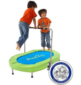 HearthSong HearthSong Jump2It Kids Portable 2 Person Mini Trampoline with Adjustable Central Handle and Protective Frame Cover Blue and Green