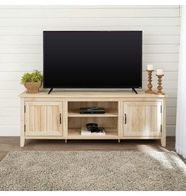 Walker Edison Walker Edison Ashbury Coastal Style Grooved Door TV Stand for TVs up to 80 Inches, 70 Inch, White Oak