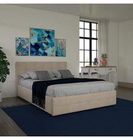 DHP DHP Rose Velvet Tufted Upholstered Platform Bed with Storage - Ivory Velvet - Full