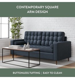 Edenbrook Edenbrook Lynnwood Upholstered Sofa with Square Arms and Tufting-Bolster Throw Pillows Included, Navy
