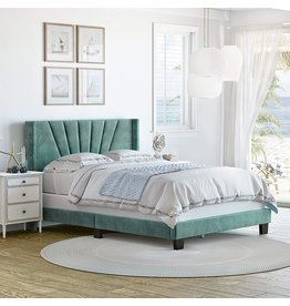 Boyd Sleep Boyd Sleep Valencia Winged Tifted Upholstered Platform Bed with Headboard, Strong Wood 4-Slat Supports, Requires Box Spring: Aqua Velour, King Size