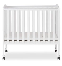 Dream On Me Dream On Me 2 in 1 Portable Folding Stationary Side Crib in White, Greenguard Gold Certified