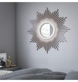 Kenroy Home Kenroy Home Modern Wall Mirror ,36 Inch Height, 36 Inch Diameter, 1.5 Inch Ext with Antique Silver Finish with Warm Highlights
