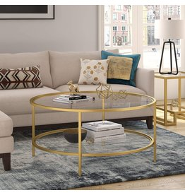 """Henn&Hart Henn&Hart Round coffee table, Gold, 17"""" H x 36"""" L x 36"""" W"""