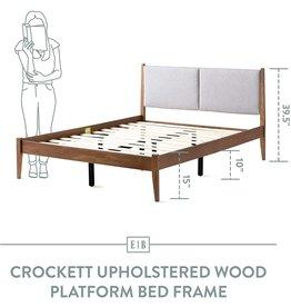 Edenbrook Edenbrook Crockett Wood and Upholstered Bed Frame-Box Spring Optional Platform, Twin, Brown and Gray