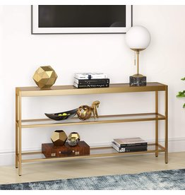 """Henn&Hart Henn&Hart Modern Console Sofa 3-Tier Open Shelf, Entryway/Hallway Table for Living Room, Multiple Colors/Sizes, 55"""" L, Gold,AT0234"""