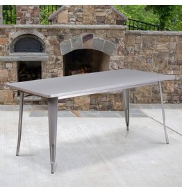 "Flash Furniture Flash Furniture Commercial Grade 31.5"" x 63"" Rectangular Silver Metal Indoor-Outdoor Table"
