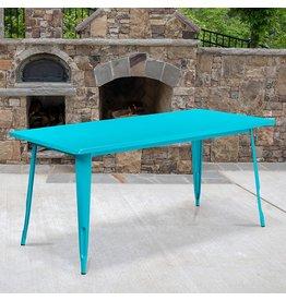 "Flash Furniture Flash Furniture Commercial Grade 31.5"" x 63"" Rectangular Crystal Teal-Blue Metal Indoor-Outdoor Table"