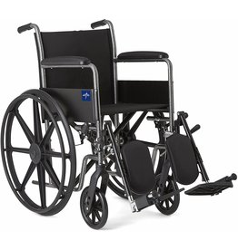 Medline Medline Comfort Driven Wheelchair with Full-length Arms and Elevating Leg Rests for Extra Comfort, 18 Seat