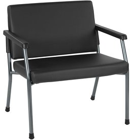 """Office Star Office Star Bariatric Big and Tall Medical Office Chair with Oversized 29"""" Wide Seat and Sturdy Metal Frame with Back Reinforcement, Dillon Black Faux Leather Fabric, 500 Pound Capacity"""