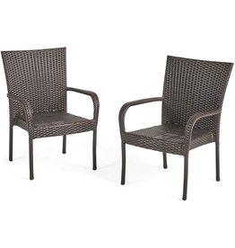 Great Deal Furniture Christopher Knight Home CKH Outdoor Wicker Stackable Club Chairs, 2-Pcs Set, Multibrown