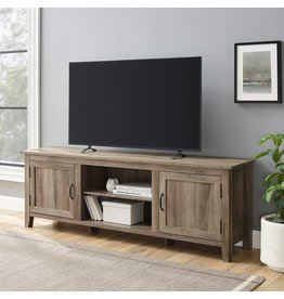 Walker Edison Walker Edison Ashbury Coastal Style Grooved Door TV Stand for TVs up to 80 Inches, 70 Inch, Grey Wash