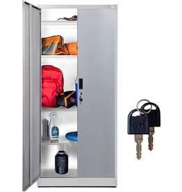 """Fedmax Fedmax Metal Storage Cabinet - 71"""" Tall w/Locking Doors & Adjustable Shelves - Steel Utility Cabinets for Garage, Office, Classroom, Kitchen Pantry -70.86"""" L x 31.5"""" W x 15.75"""" D  White"""