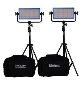 Dracast Dracast DRP-LK-2x500-BG 2 X LED500 Bi-color Kit with Gold Mount Battery Plates (Blue)