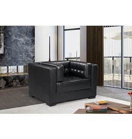 Iconic Home Iconic Home Lorenzo Accent Club Chair PU Leather Upholstered Tufted Shelter Arm Design Espresso Finished Wood Legs Modern Transitional, Black