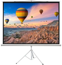 PERLESMITH PERLESMITH 100 Inch Projector Screen with Stand Portable for Outdoor Indoor - 4:3 Pull up Foldable Height Adjustable Wrinkle-Free Projection Screen Tripod for Movie, Home Theater, Gaming, Office (Renewed)