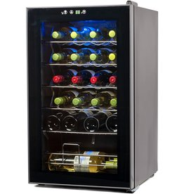 BLACK+DECKER BLACK+DECKER BD61526 Wine Cellar, 24 Bottles, Black Cabinet with Gray Door Accent