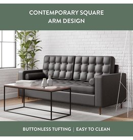 Edenbrook Edenbrook Lynnwood Upholstered Loveseat with Square Arms and Tufting-Bolster Throw Pillows Included, Black Faux Leather