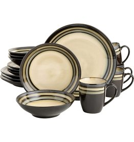Gibson Elite Gibson Elite Lewisville Round Reactive Glaze Stoneware Dinnerware Set, Service for 4 (16pcs), Cream/Gray