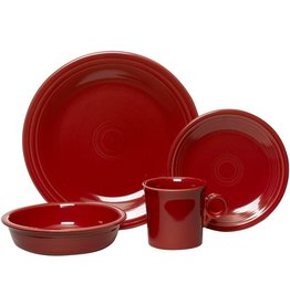Homer Laughlin Fiesta 16-Piece, Service for 4 Dinnerware Set, Scarlet