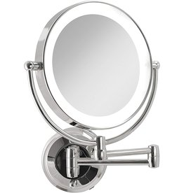 Zadro Zadro Dual Sided Magnification Beauty Mirror with LED Light & Extendable Arm Wall Mount , Easy to Install Wire-Free Cordless Hardwire Fixture for Bathroom Beauty Makeup Grooming (10X/1X, Chrome)
