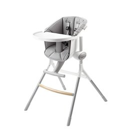 Beaba BEABA Adjustable High Chair, Height Adjustable Baby High Chair with Six Height Settings, from Kitchen Table to Island or Counter, Removable Tray and Footrest, 6-36 Months, Cushion Included, Gray