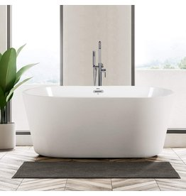 """FerdY FerdY Shangri-La 55"""" Acrylic Freestanding Bathtub, Classic Oval Shape Soaking Bathtub with Toe-Tap Chrome Drain and Classic Slotted Overflow Included, Modern White, cUPC Certified, 02522"""