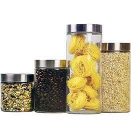Home Basics Home Basics 4 Piece Round Glass Canisters with Stainless Steel Airtight Screw On Lid Food Storage and More